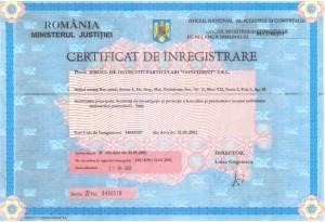 certificat inregistrare biroul de detectivi particulari confident